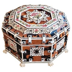 19th Century Anglo-Indian Octagonal Shell and Bone Jewelry Box