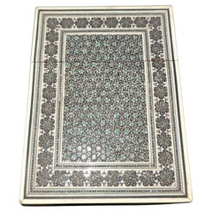 19C Anglo Indian Sadeli Mosaic Greeting Card Case