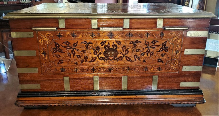 Presenting an absolutely stunning and extremely rare 19th century Anglo-Indian Stationery Campaign chest/box.  Gorgeous and extremely rare and unique 19th century piece, made in 1897.   Large in size.  Everything about this chest 'oozes'