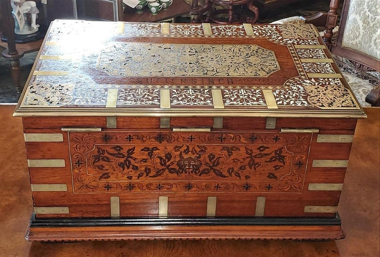 British Colonial 19th Century Anglo Indian Stationery Campaign Chest, Outstanding For Sale