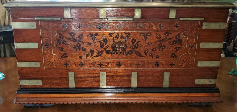 Hand-Crafted 19th Century Anglo Indian Stationery Campaign Chest, Outstanding For Sale