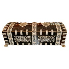 19th Century Anglo Indian Vizagapatam Dark Shell and Faux Ivory Glove Box