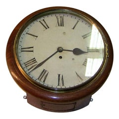 19th Century British Mahogany Schoolhouse or Railway Wall Clock