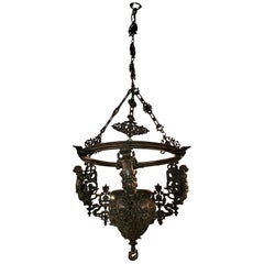 19th Century Bronze and Iron Hanging Planter/Jardinière