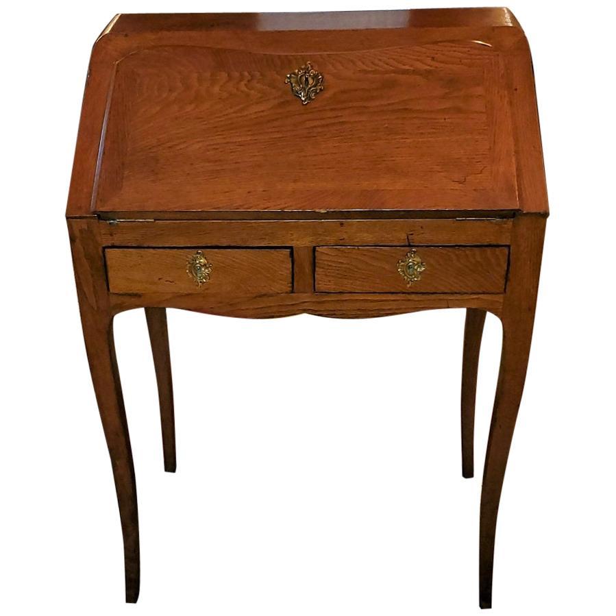 19th Century French Country Golden Oak Bureau