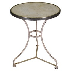 19th Century French Iron Bistro Table with Marble Top, Origin, France