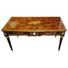 19th Century French Low Side Table with Musical Marquetry Top