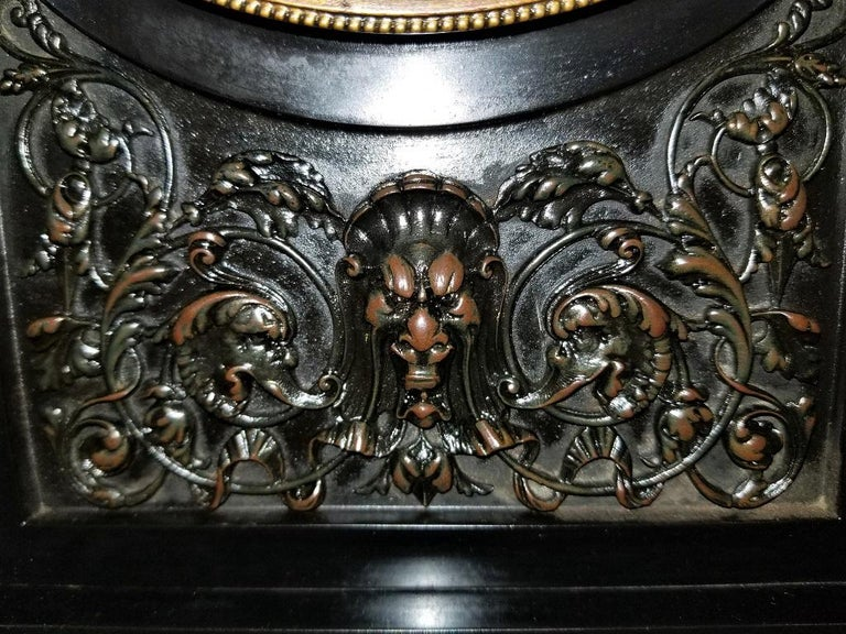 19th Century French Slate & Bronze Clock by Marti For Sale 5