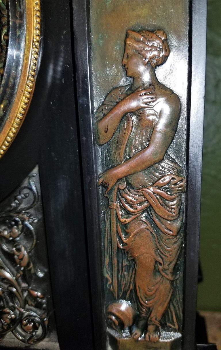 19th Century French Slate & Bronze Clock by Marti For Sale 6