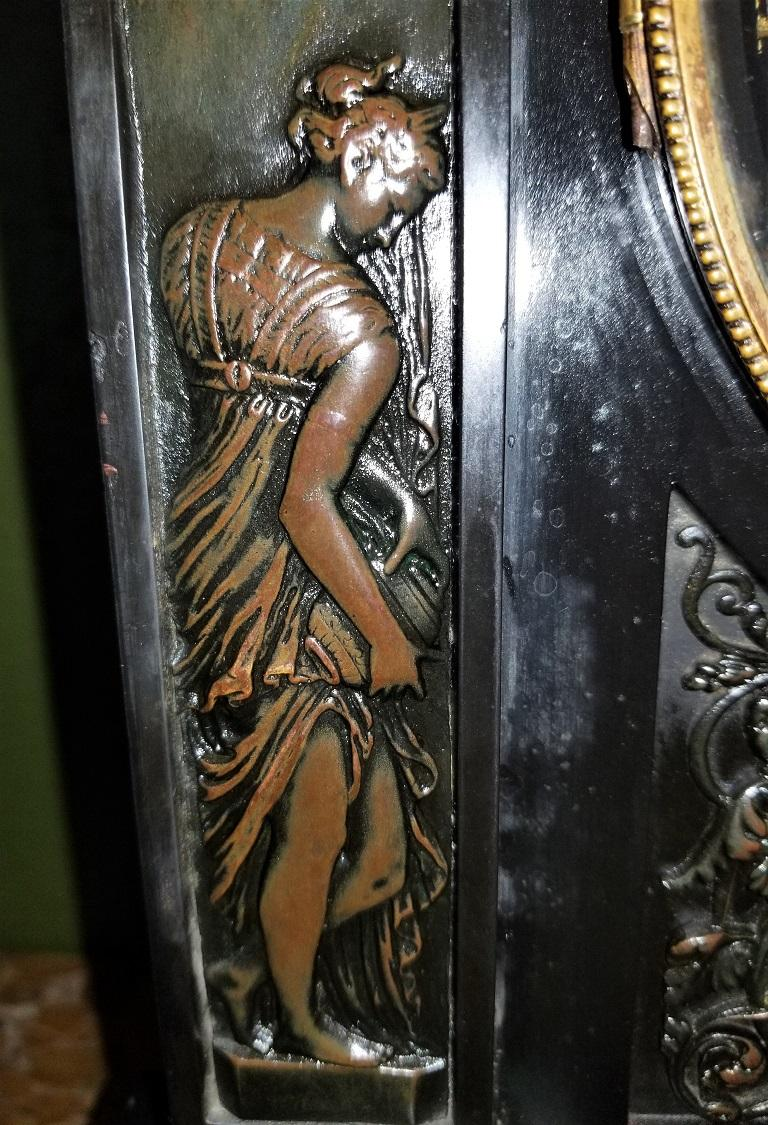 19th Century French Slate & Bronze Clock by Marti For Sale 7