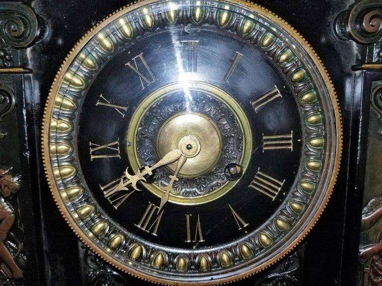 19th Century French Slate & Bronze Clock by Marti For Sale 11