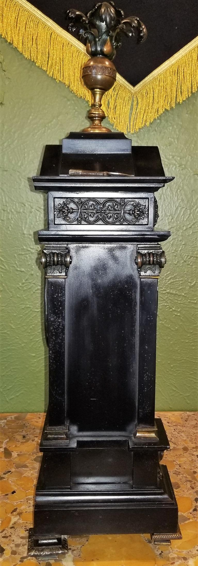 19th Century French Slate & Bronze Clock by Marti For Sale 12