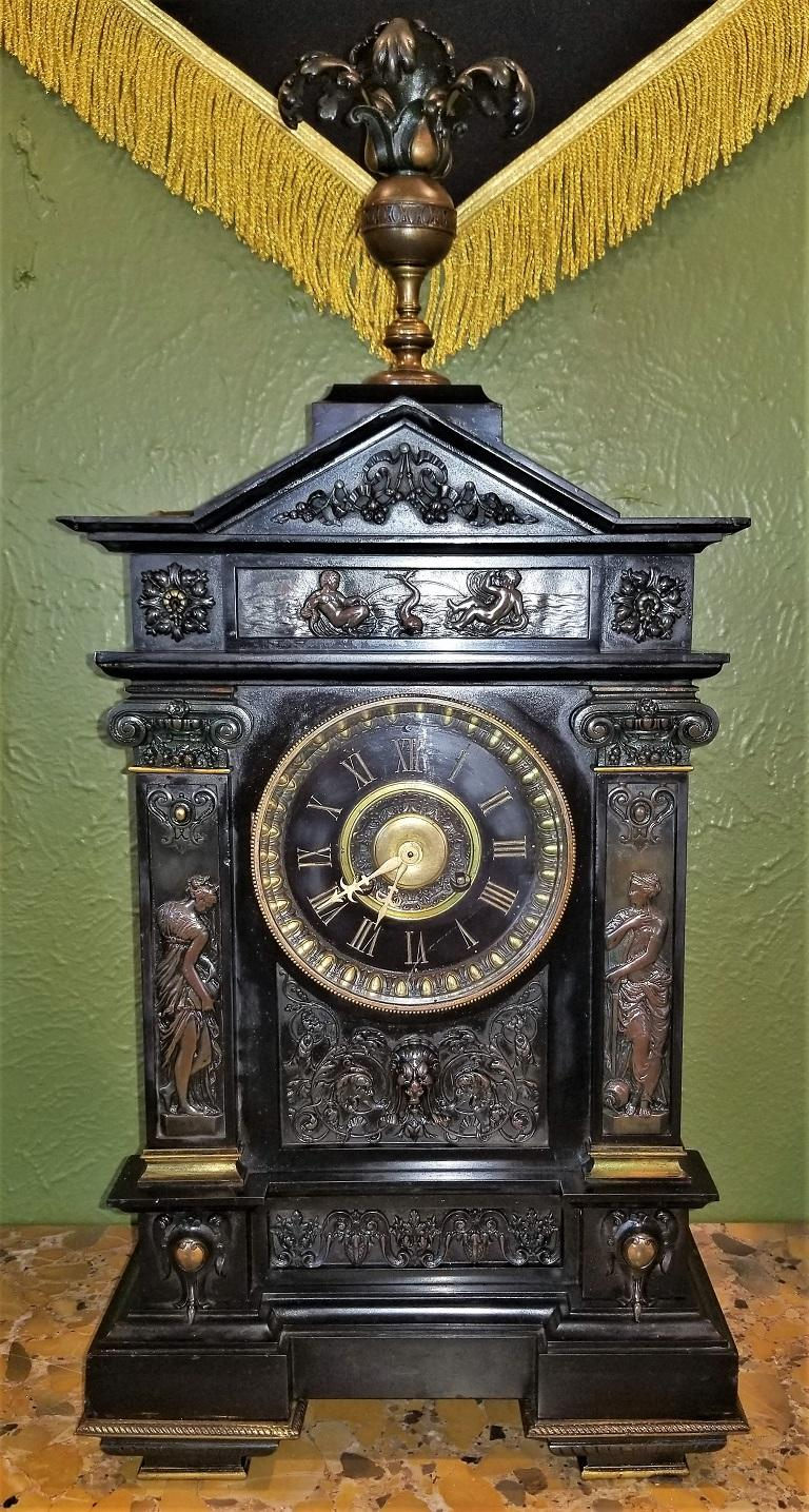 19th Century French Slate & Bronze Clock by Marti For Sale 14