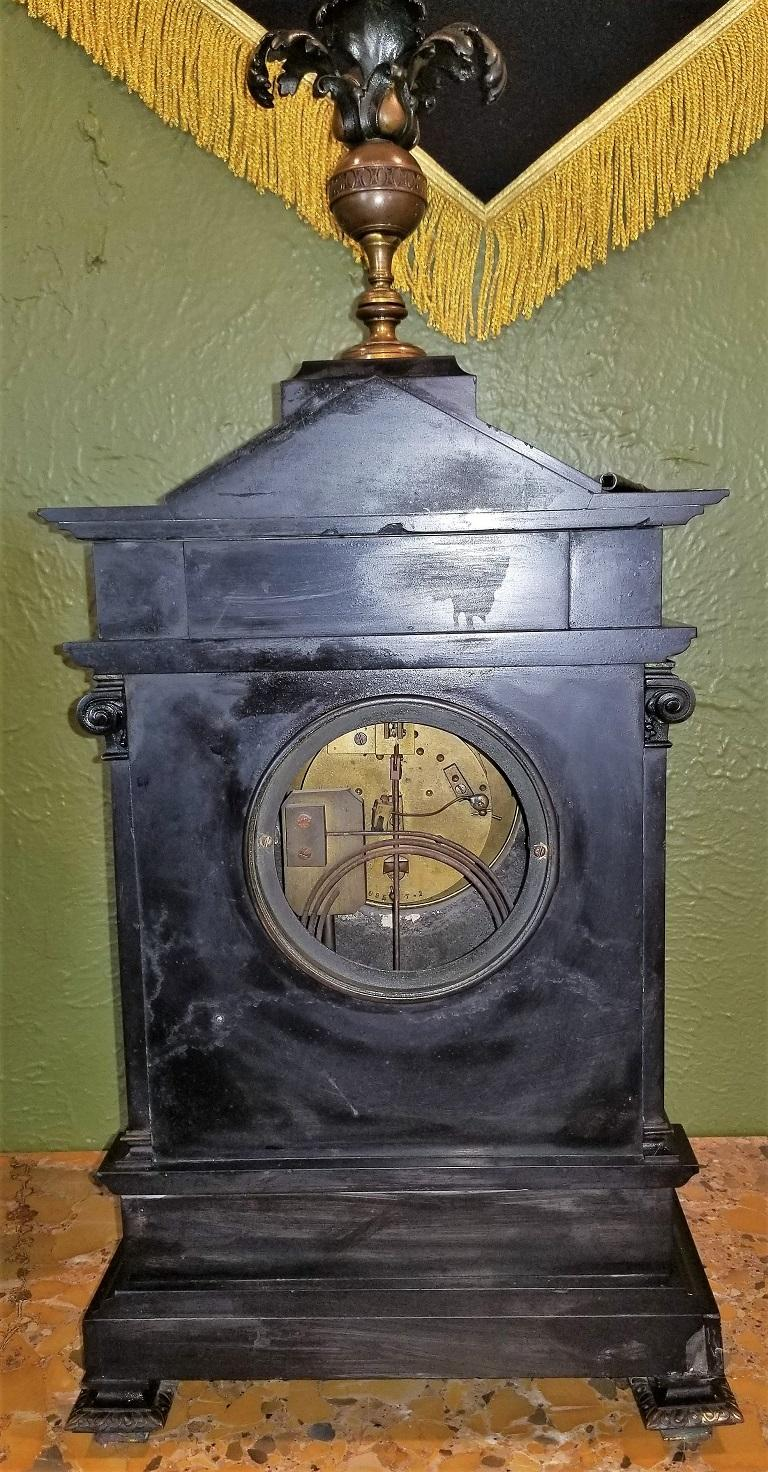 Hand-Carved 19th Century French Slate & Bronze Clock by Marti For Sale