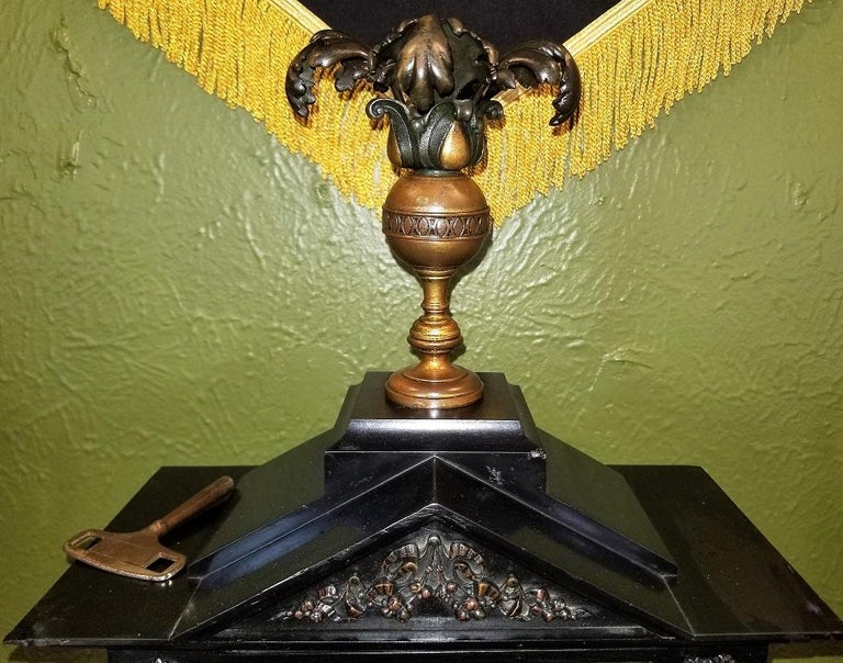 19th Century French Slate & Bronze Clock by Marti For Sale 2