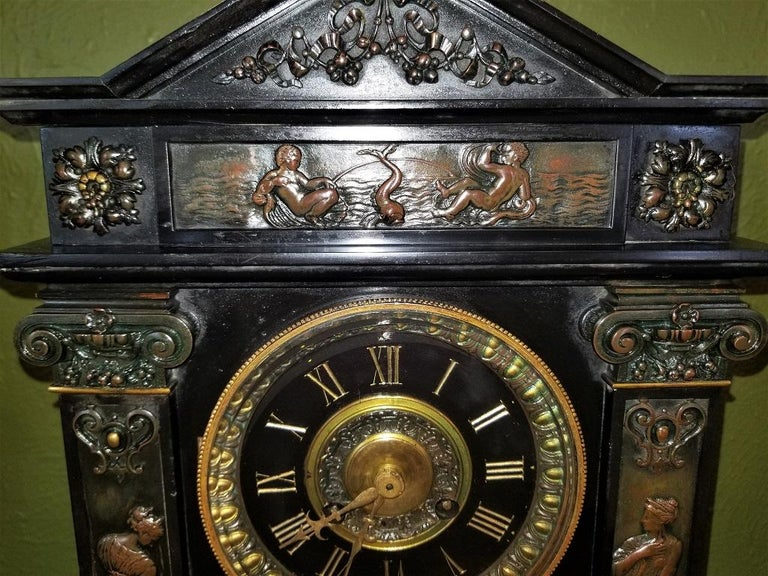 19th Century French Slate & Bronze Clock by Marti For Sale 3