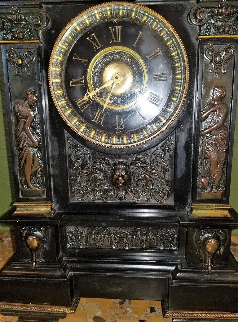 19th Century French Slate & Bronze Clock by Marti For Sale 4