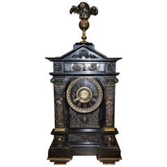 19th Century French Slate & Bronze Clock by Marti