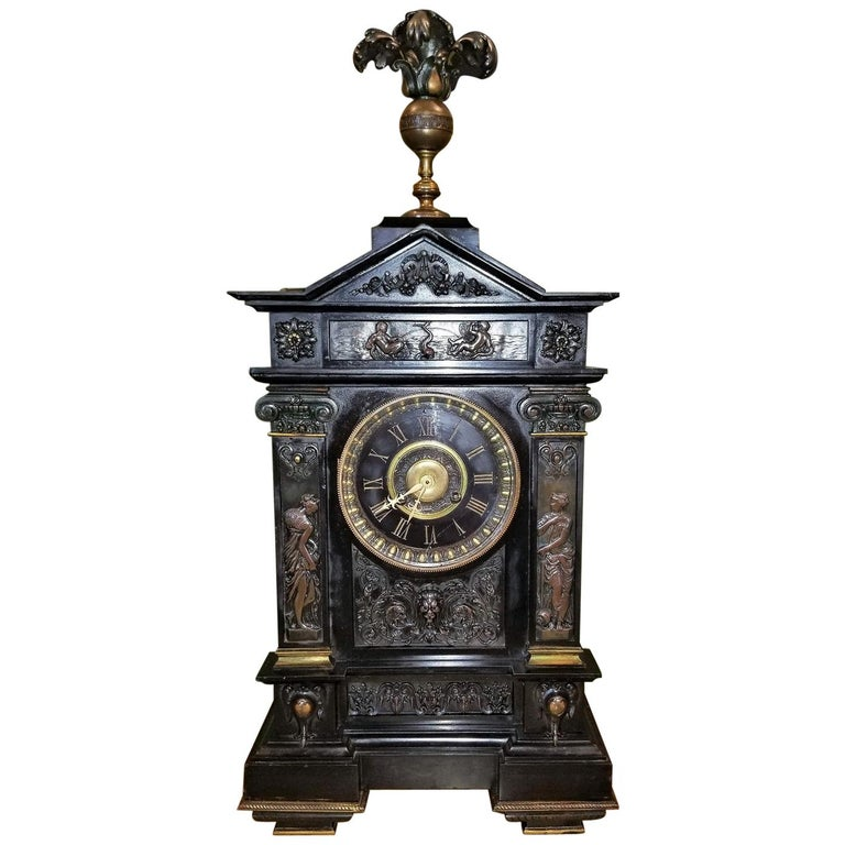 19th Century French Slate & Bronze Clock by Marti For Sale