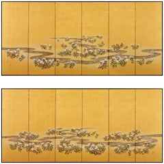 19th Century Japanese Rimpa Screen Pair Chrysanthemum Dew from the Sweet Valley