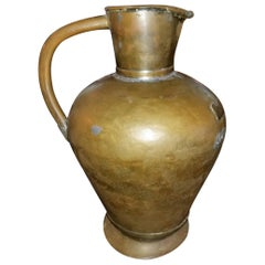 19th Century Large Civil War Era Bronze and Tin Pitcher
