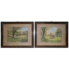 Pair of British Hunt Prints of The Meet on the Green and Crossing the Green