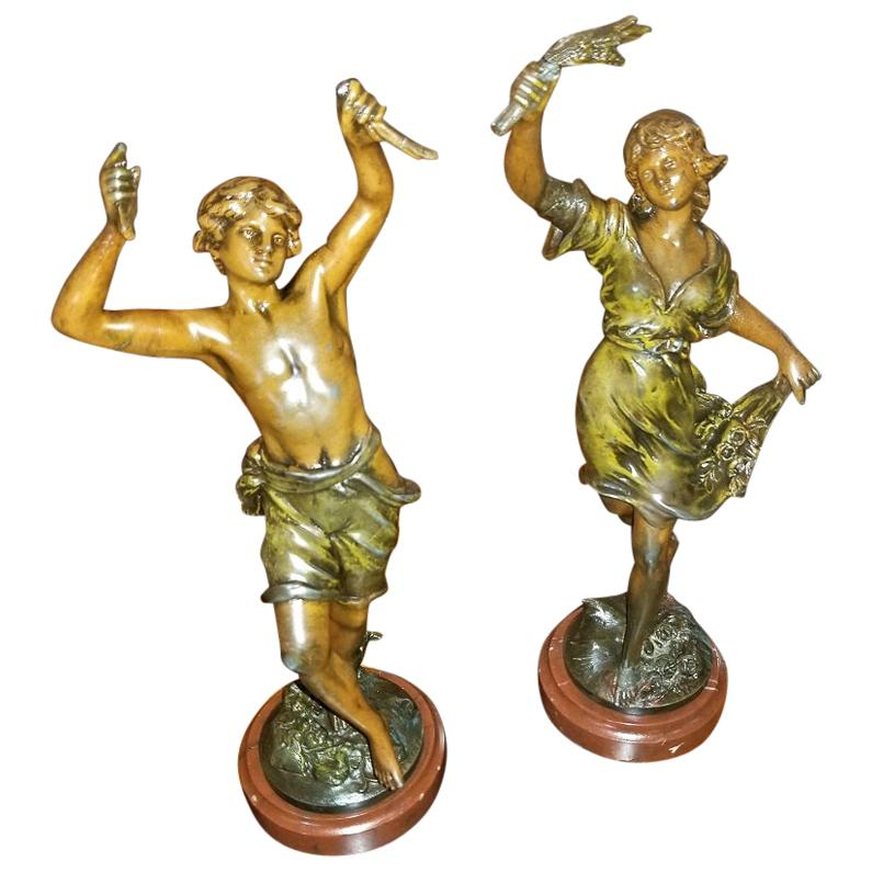 19C Pair of Bronzed Spelter Sculptures After Auguste Moreau