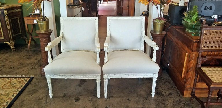 Wood 19th Century Pair of French Louis XVI Style Painted Armchairs For Sale