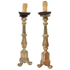 19th Century Pair of Italian Gold Gilt Candlesticks