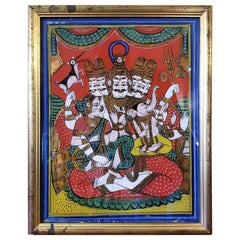 Reverse Glass Painting of Shiva, Parvati and Ganesh from the Pal Collection