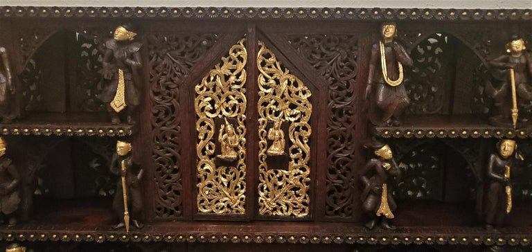 Cambodian 19th Century SE Asian Highly Carved Wooden and Gilted Floor Case For Sale