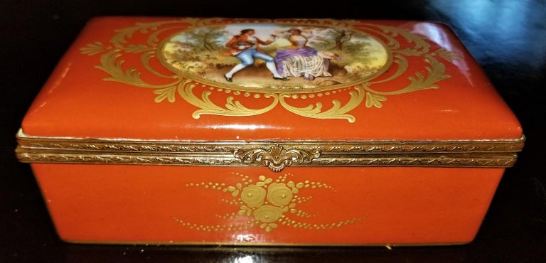 19C Sevres Porcelain Trinket Box with Ring Tray 3