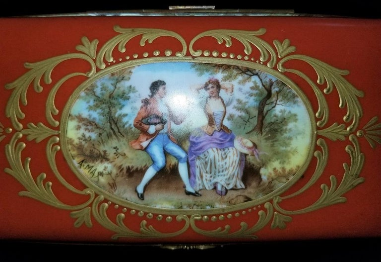 19C Sevres Porcelain Trinket Box with Ring Tray 4