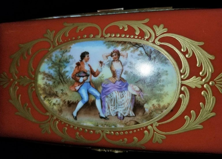 19C Sevres Porcelain Trinket Box with Ring Tray 5