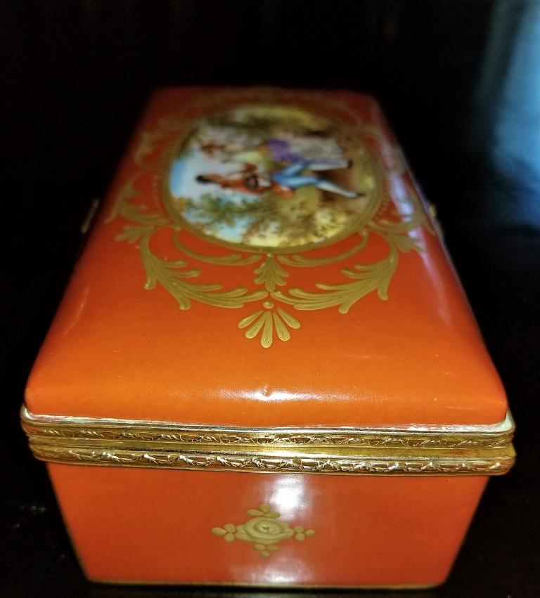 19C Sevres Porcelain Trinket Box with Ring Tray 6