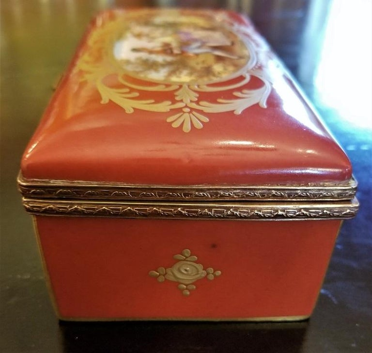 19C Sevres Porcelain Trinket Box with Ring Tray 7