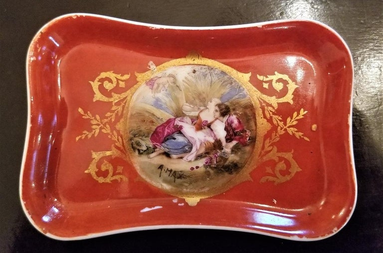 19C Sevres Porcelain Trinket Box with Ring Tray 10