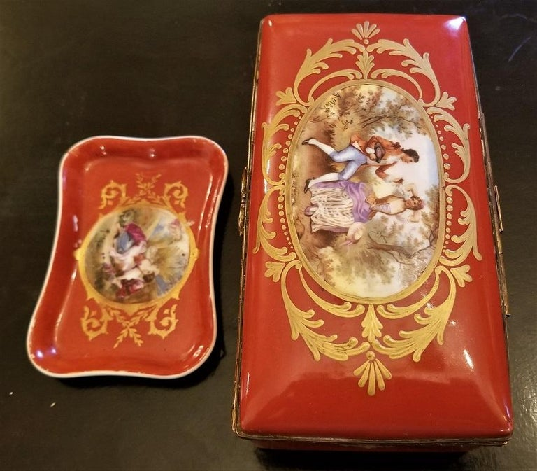 19C Sevres Porcelain Trinket Box with Ring Tray 12