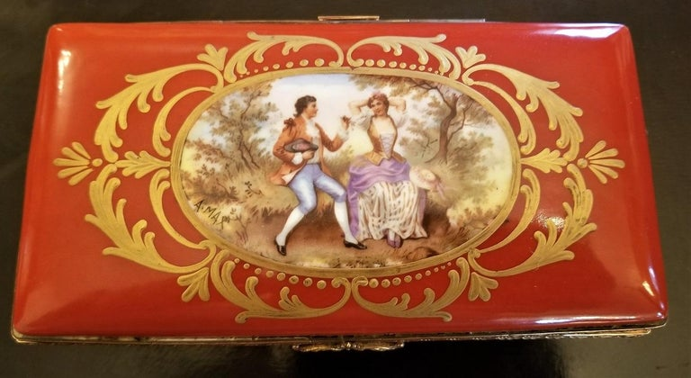 19C Sevres Porcelain Trinket Box with Ring Tray 13