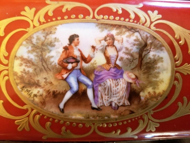 19th Century 19C Sevres Porcelain Trinket Box with Ring Tray