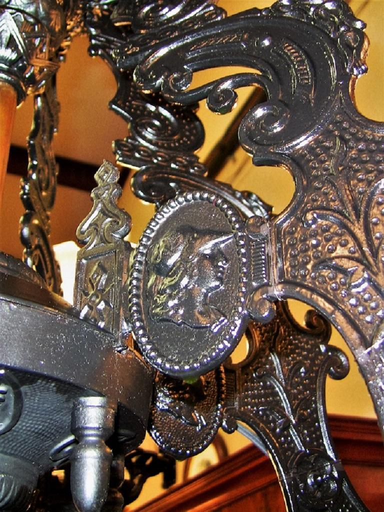 19century Bradley & Hubbard Cast Iron Six-Arm Chandelier In Excellent Condition For Sale In Dallas, TX