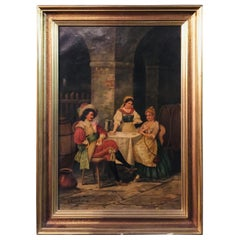 19th Century Oil Painting Signed cb Mussard