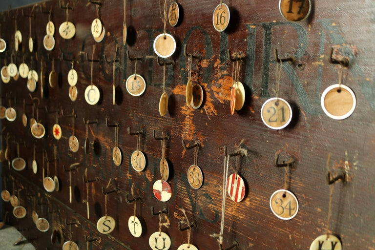 English 19th Century Primitive Wall Hook Rack For Sale