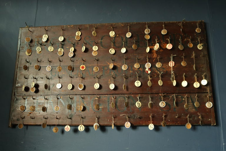 19th Century Primitive Wall Hook Rack In Distressed Condition For Sale In Gloucestershire, GB