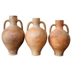"19th Century Set of Three Picher ""Cantaro"" from Calanda, Spain, Terracotta Vase"