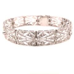 19K Art Deco French Bracelet White Gold