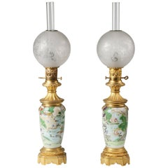 19t Century Napoleon III Chinoiserie Gilt Bronze and Porcelain Oil Lamps