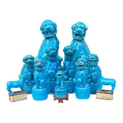 19th-20th Century 11 Piece Collection of Chinese Turquoise Foo Dogs, Some Marked
