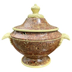 19th-20th Century Agateware Brown and Yellow Tureen
