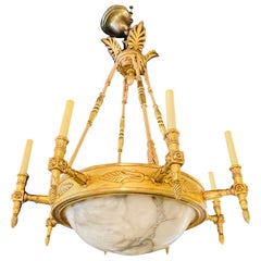19th-20th Century Alabaster and Giltwood Chandelier